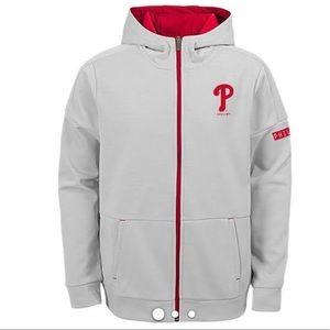 Philadelphia Phillies Youth Zip Up Hoodie Gray